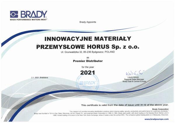 Czołowy dystrybutor BRADY 2021