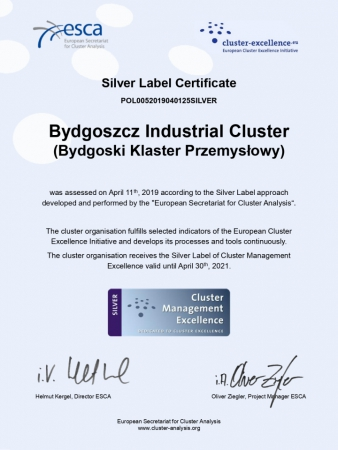 Bydgoski Klaster Przemysłowy drugi w Polsce z certyfikatem Silver Label